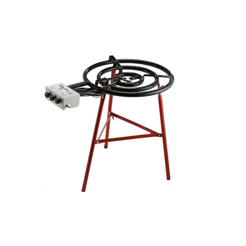 Bruleur gaz propane et butane professionnel 3 anneaux 600mm - Bruleur a gaz pour paella ...