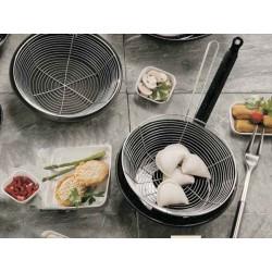 Sauteuse 28cm emaillée pour friture avec panier inox