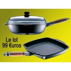Sauteuse + grill viande 27 X 27cm Diamant Stone