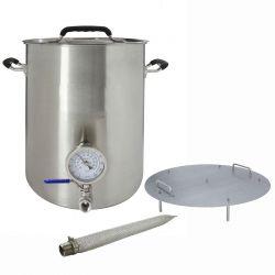 Cuve brassage inox 82 litres avec thermomètre, vanne, fond filtrant