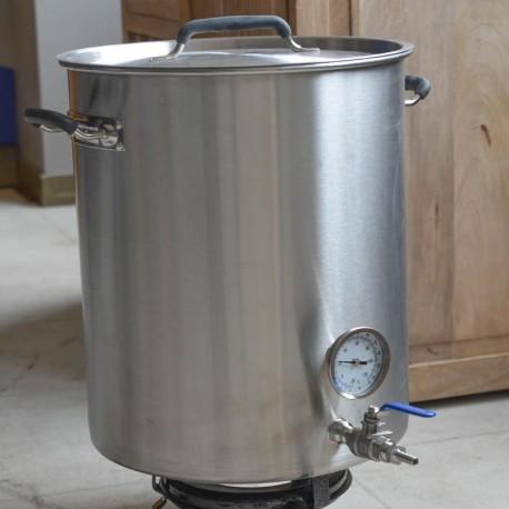 Cuve brassage inox 40 litres avec thermomètre, vanne, fond filtrant