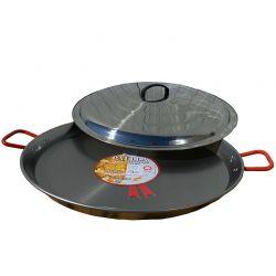 Plat à Paella en acier 46cm + couvercle inox