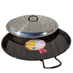 Plat à Paella émaillé 30cm + couvercle inox