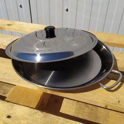 Plat à Paella en inox 46cm + couvercle - Spécial induction