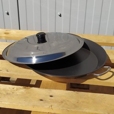 Poêle en inox anti-adhésif 46cm + couvercle - Spécial induction