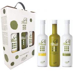 Coffret cadeau de 3 bouteilles d'huiles d'olive qualité Premium Olimedi - 3 x 0,5L