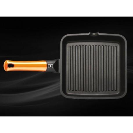 Grill viande rainuré 28x28cm BRA EFFICIENT Orange